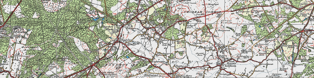 Old map of Windlesham in 1920
