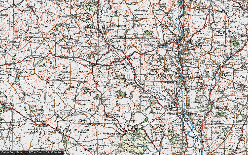 Old Map of Historic Map covering Lilies, The in 1921