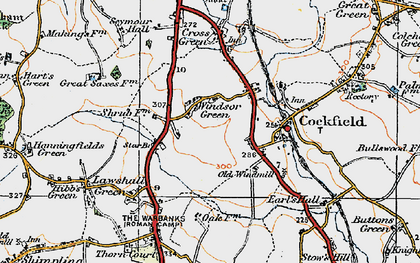 Old map of Windsor Green in 1921