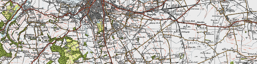 Old map of Windy Nook in 1925