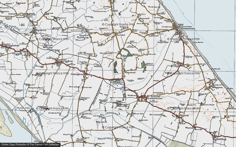 Old Map of Winestead, 1924 in 1924