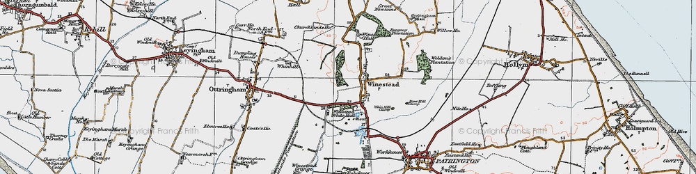 Old map of Winestead Grange in 1924