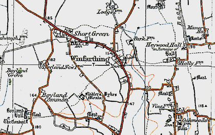 Old map of Winfarthing in 1920