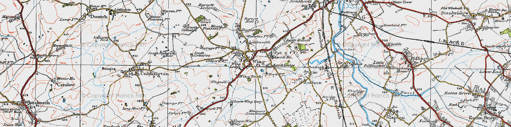 Old map of Wing in 1919