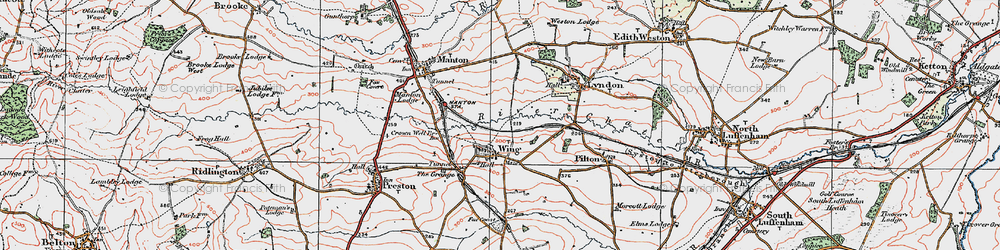 Old map of Wing in 1921