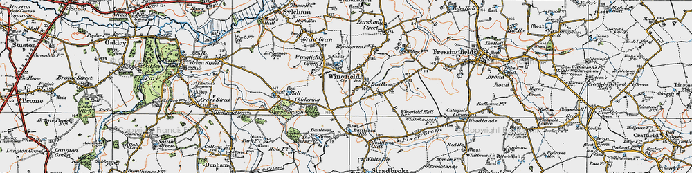 Old map of Wingfield in 1921