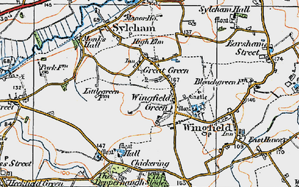 Old map of Wingfield Green in 1921