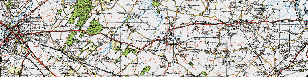 Old map of Wingham Green in 1920