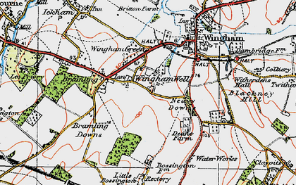 Old map of Wingham Well in 1920
