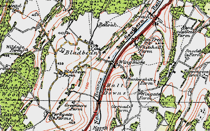 Old map of Wingmore in 1920
