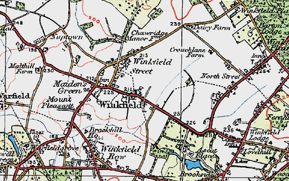 Old map of Winkfield in 1919