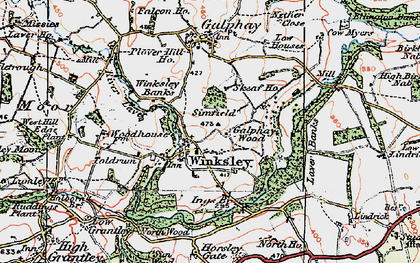 Old map of Winksley in 1925