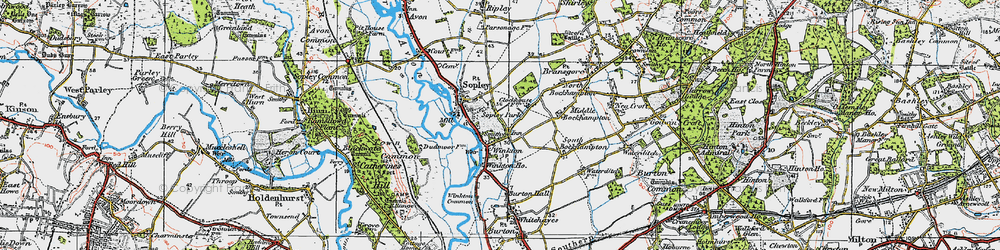 Old map of Winkton in 1919