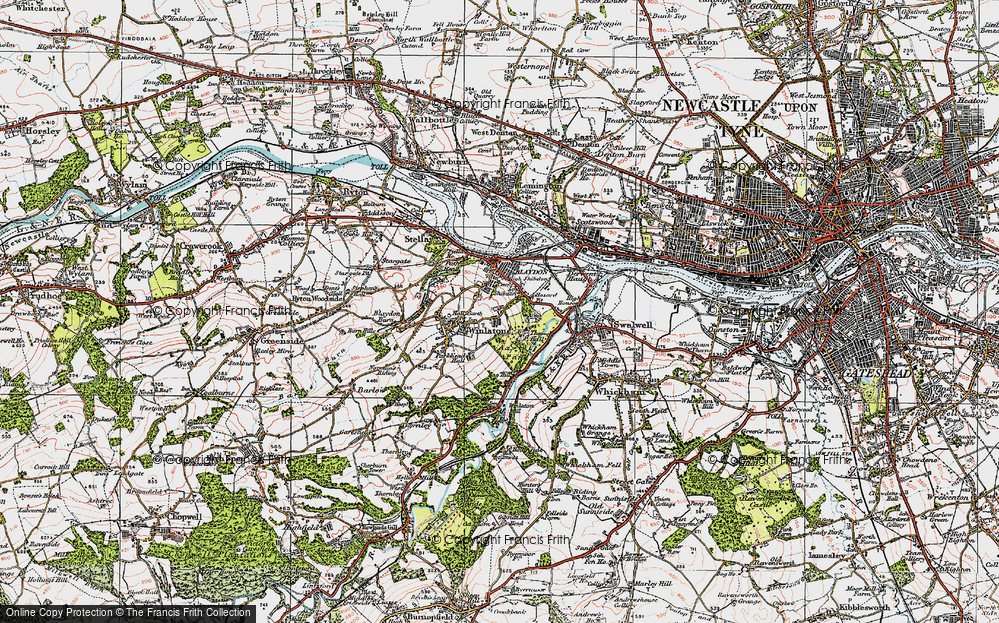 Old Map of Winlaton, 1925 in 1925