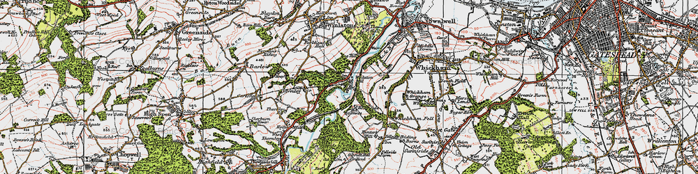 Old map of Winlaton Mill in 1925