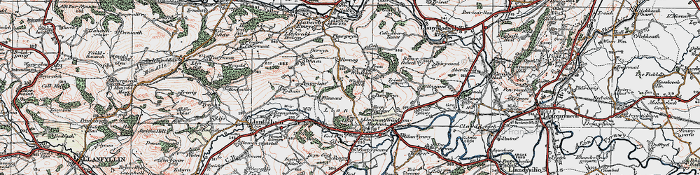 Old map of Winllan in 1921