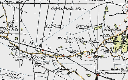 Old map of Winmarleigh Moss in 1924