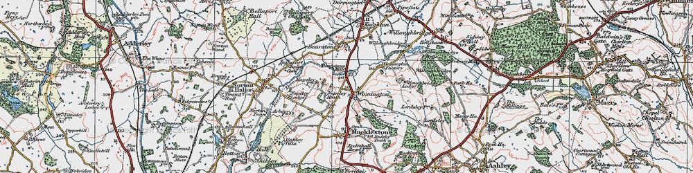 Old map of Winnington in 1921