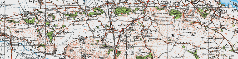 Old map of Winscombe in 1919