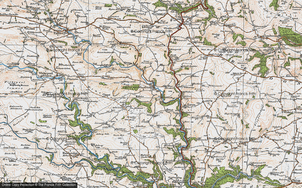 Old Map of Historic Map covering Leigh in 1919
