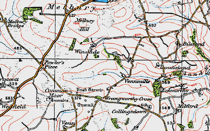 Old map of Wrangworthy Cross in 1919