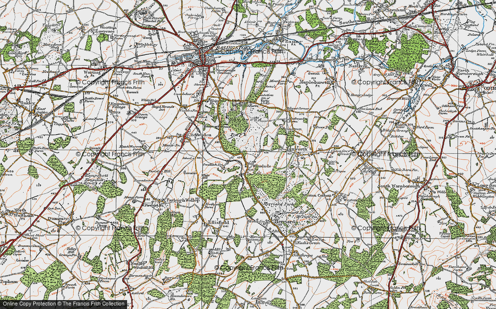 Old Map of Historic Map covering Allwood Copse in 1919