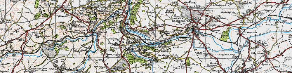 Old map of Winsley in 1919