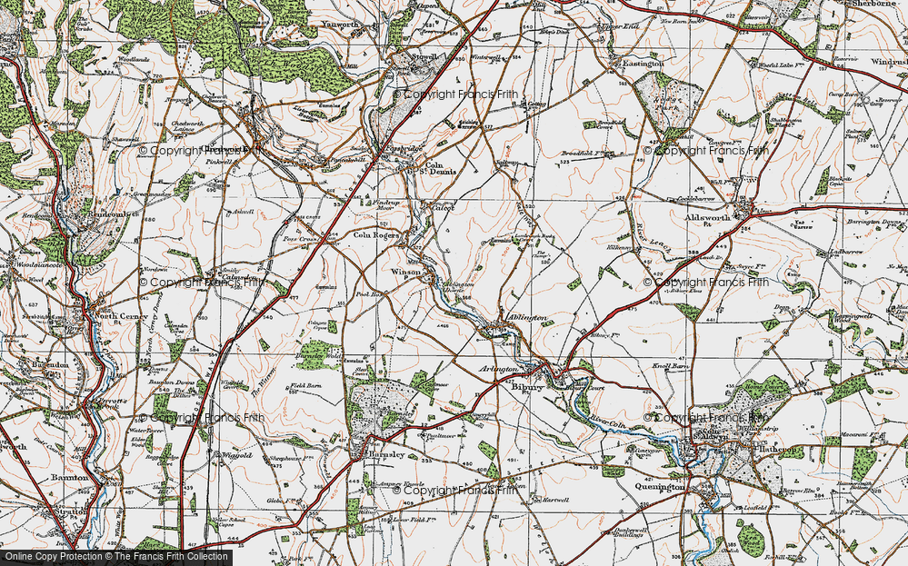 Old Map of Historic Map covering Ablington Downs in 1919