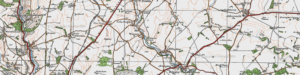 Old map of Ablington Downs in 1919