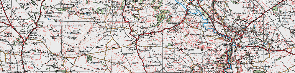 Old map of Winster in 1923