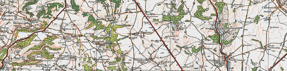 Old map of Winstone in 1919