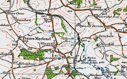 Old map of Winswell Moor in 1919