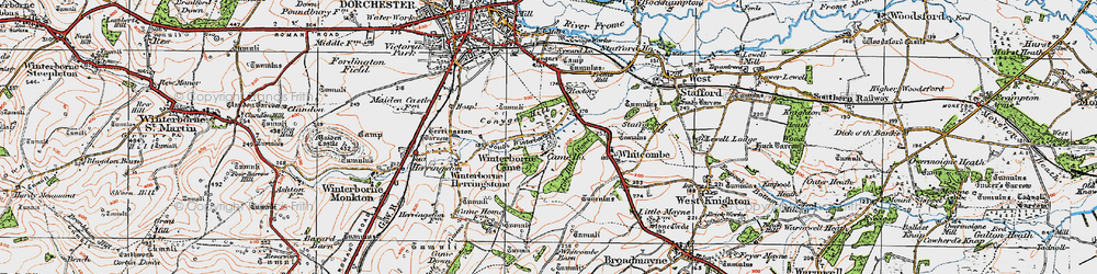 Old map of Winterborne Came in 1919
