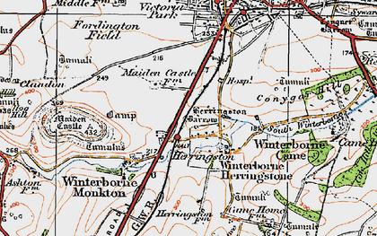 Old map of Winterborne Herringston in 1919
