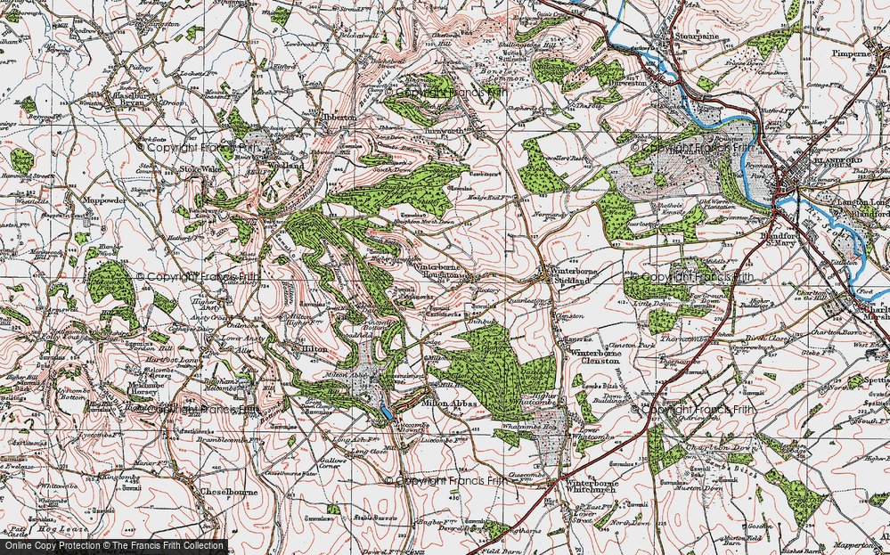 Old Map of Winterborne Houghton, 1919 in 1919