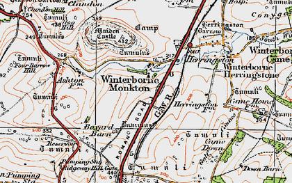Old map of Winterborne Monkton in 1919