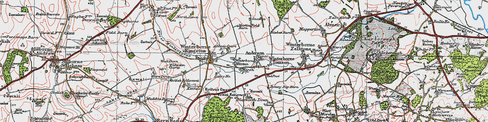 Old map of Winterborne Muston in 1919