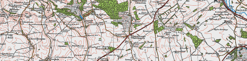 Old map of Winterborne Whitechurch in 1919