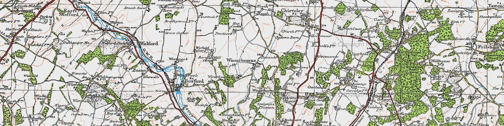 Old map of Winterbourne in 1919