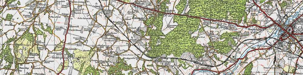Old map of Winterbourne in 1921