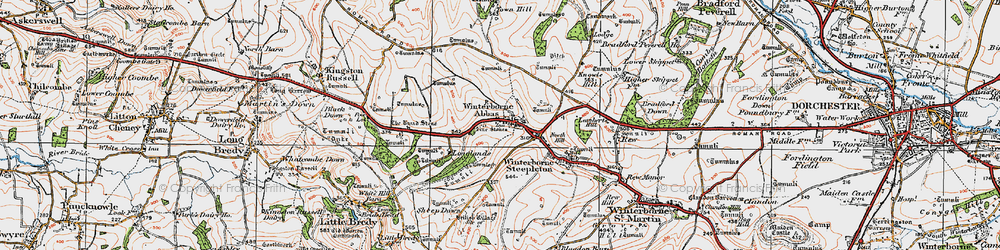 Old map of Winterbourne Abbas in 1919