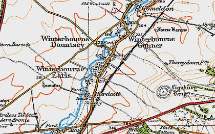 Old map of Winterbourne Dauntsey in 1919