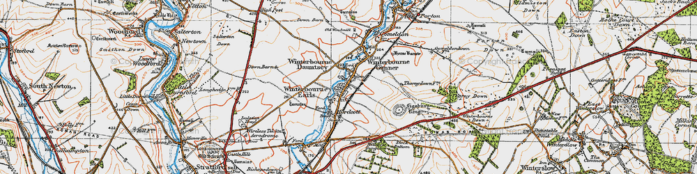 Old map of Winterbourne Earls in 1919