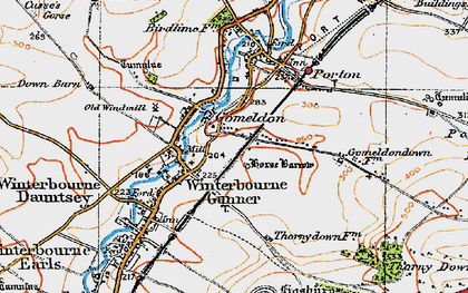 Old map of Winterbourne Gunner in 1919