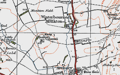 Old map of Winterbourne Monkton in 1919