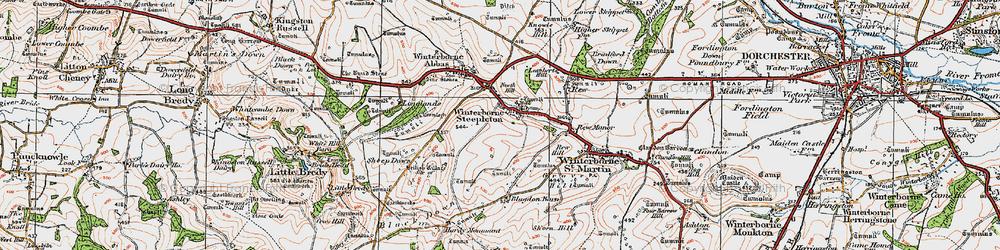 Old map of Winterbourne Steepleton in 1919