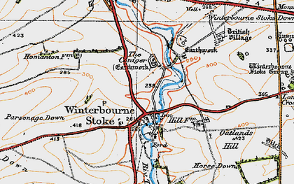 Old map of Winterbourne Stoke in 1919