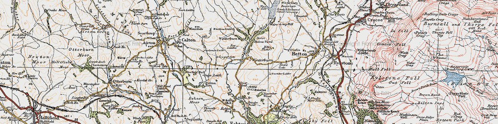 Old map of Yorkshire Dales Cycle Way in 1925