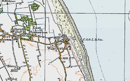 Old map of Winterton Dunes (Nature Reserve) in 1922