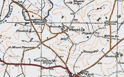 Old map of Winwick Lodge in 1919